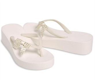 Wedge Bridal Flip Flops with Rhinestone Side Bow