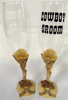 Custom Cowboy Bride and Groom Bridal Toasting Flutes