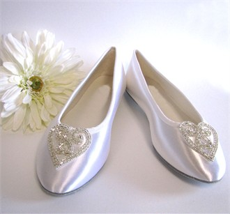 Bridal Ballet Slippers with Stunning Heart Design