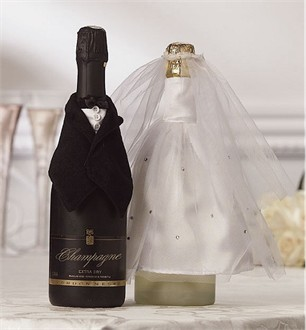 Bride and Groom Bottle Covers for Wine Bottles - Sold Individually