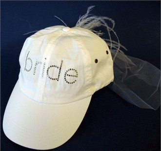 Bride Cap with Veil and Feather Clip - Bridal Shower Cap
