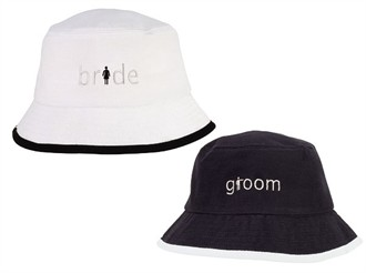 Embroidered Bride and Groom Hats - Crusher Hat Style