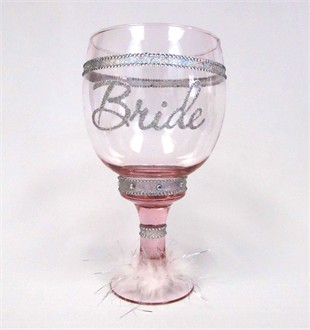 Bride Chalice - Pink Glass with Pink Maribou