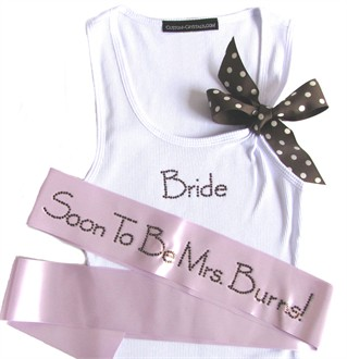 Custom Bride Tank Top and Bridal Sash Set