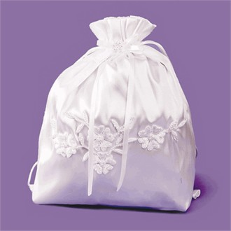 Bridal Money Bag with Lace Flowers - White or Ivory