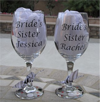 Bride's Sister Wine Glass or Sister of the Bride Wine Glass