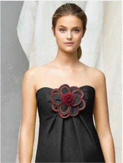Customized Black Faille and Crinkle Chiffon Flower