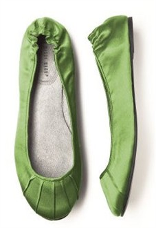Clover Green Ballet Flats - Bridesmaid Ballet Slippers
