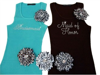 Bridal Party Tank Tops or Tees with Animal Flower Brooch