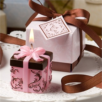 Brown and Pink Gift Box Collection Box Candle Favors-9447