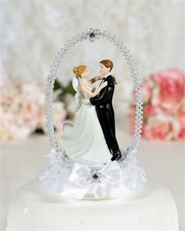 Dancing Bride and Groom Cake Topper with Pearl Elegance Arch