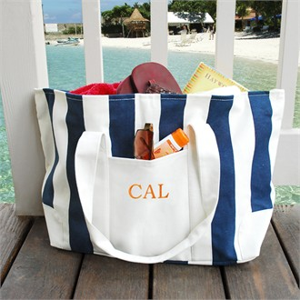 Personalized Striped Canvas Tote Bag - Embroidered Tote Bag