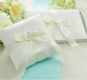 Tied with a Bow Guest Book & Ring Pillow Set - Save 10%