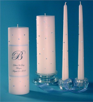 Personalized Blue Crystal Unity Candle and Taper Set
