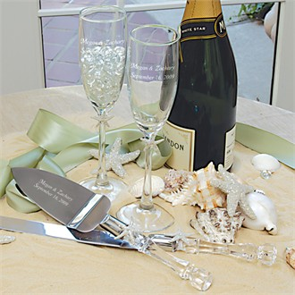 Ivory Beach Champagne Flutes & Cake Wedding Cake Knife Server Set