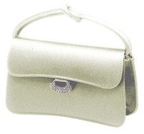 Satin Bridal Purse with Rhinestone Clasp