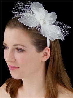 Chiffon Flower Headband with French Net 1763