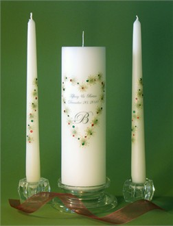 Crystal Christmas Unity Candles with Personalization