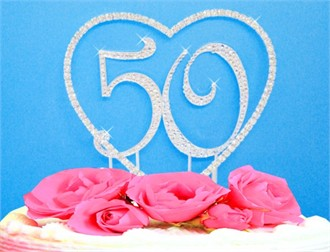 Crystal Covered Heart and Number Anniversary Cake Topper - Birthday Cake Topper