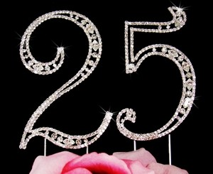 Crystal 25th Anniversary Cake Topper