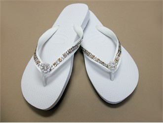 Custom Crystal Havaianas in Clear and Topaz