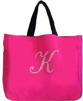 Custom Crystal Initial Tote Bag