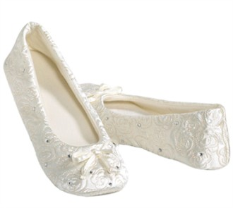 Cushioned Ballet Slippers with Rhinestone Accents in White, Ivory or Black