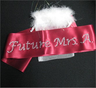 Custom Rhinestone Sash with Optional Organza Bag