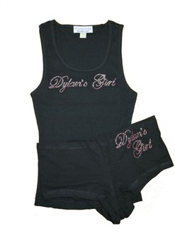 Custom Rhinestone Tank and Shorty Set