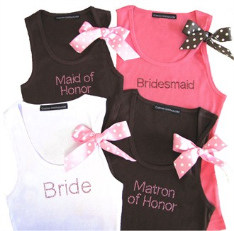 New Custom Bride Tank Top and Bridesmaid Tank Top with Polka Dot Ribbon