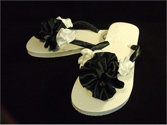 Custom Hand-Decorated Black and White Flower Sandals