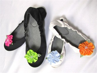 Custom Girls Ballet Shoe with Beaded Flower