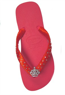 Crystal Tiara Havaianas with Ribbon and Cyrstals