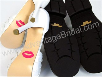 Lips and Mustache Shoe Sticker Set for Wedding Shoes