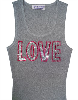 Love Rhinestone Tank with Three Rows of Crystals