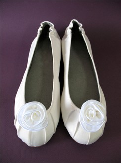 Custom White Ballet Shoes with Satin Rose - Also in Ivory