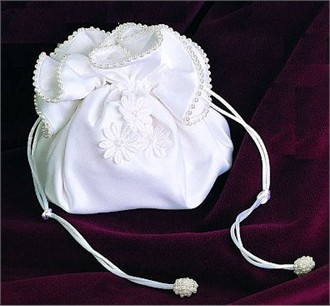 Daisy Bridal Purse with Drawstring Closure