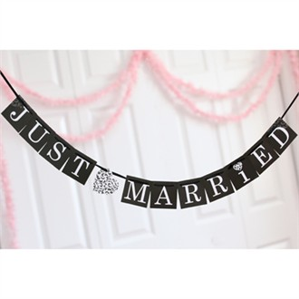 Black Damask Just Married Card Decorations