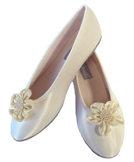 White Decorated Ballet Flats with Ivory and Pearl Posies - Also Available in Ivory