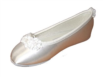 Ladies Bridal Ballet Slippers with White or Color Posie Embellishment