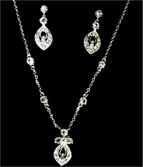 Diamond Shaped Pendant and Earring Set