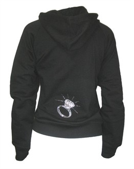 Diamond Ring Rhinestone and Nailhead Hoodie