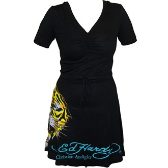Ed Hardy Intimates Short Sleeve Tiger Hoodie Dress