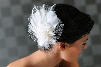 Erica Koesler Curly Feather Wedding Hair Accessory