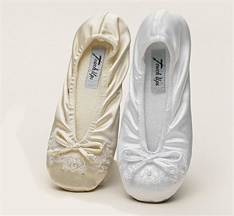 Adult Embroidered Bridal Ballet Slippers in White or Ivory
