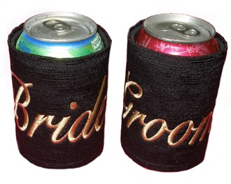 Embroidered Bride and Groom Koozies - His and Hers Koozies