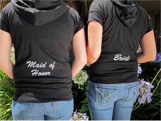 Embroidered Bridal Party Hoodie with Short Sleeves and Optional Capri Pants