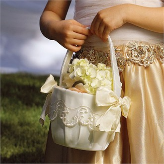 Embroidered Lace Flower Girl Basket