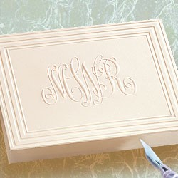 Embossed Panel Monogram Notes in White or Ivory