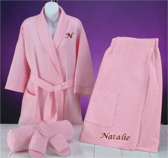 Monogrammed Robe  or Spa Wrap with Slippers Gift Set